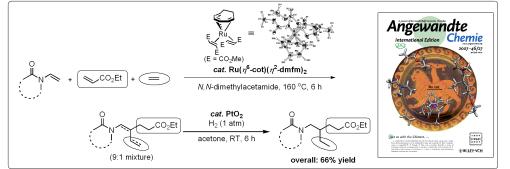 ルテニウム錯体触媒を用いる3種のアルケンの高選択的共三量化反応