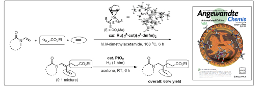 Highly selective linear cotrimerization reaction of three alkenes using a Ru complex catalyst