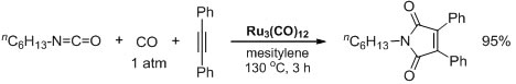 Intermolecular [2+2+1] co-adduct cyclization reaction of an isocyanate, an alkyne, and carbon monoxide using Ru3(CO)12 catalyst